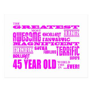 Girls 45th Birthdays Pink Greatest Forty Five Postcard