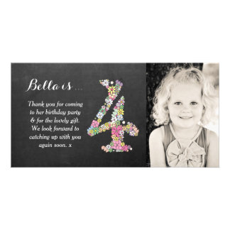 Girls 4th Birthday Floral Thank You Photo Card