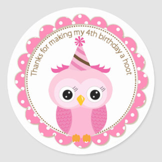 Girls 4th Birthday Pink Owl Thank You Classic Round Sticker