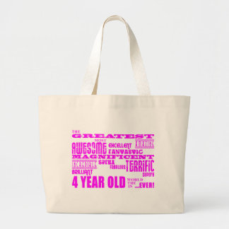 Girls 4th Birthdays : Pink Greatest 4 Year Old Tote Bags