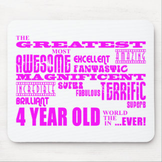 Girls 4th Birthdays : Pink Greatest 4 Year Old Mouse Pad