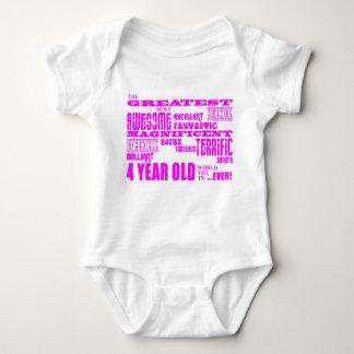 Girls 4th Birthdays : Pink Greatest 4 Year Old Shirt