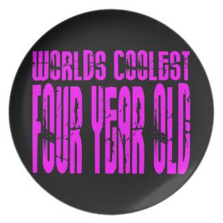 Girls 4th Birthdays Pink Worlds Coolest Four Year Plate