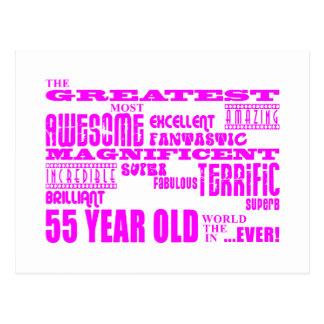 Girls 55th Birthdays Pink Greatest Fifty Five Postcard