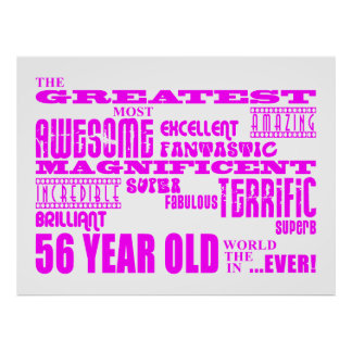 Girls 56th Birthdays Pink Greatest Fifty Six Posters