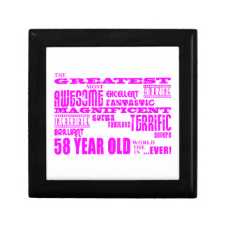Girls 58th Birthdays Pink Greatest Fifty Eight Trinket Boxes