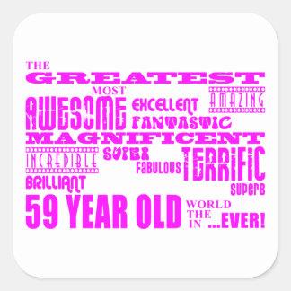 Girls 59th Birthdays Pink Greatest Fifty Nine Stickers