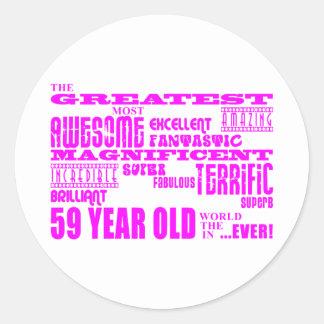 Girls 59th Birthdays Pink Greatest Fifty Nine Round Stickers