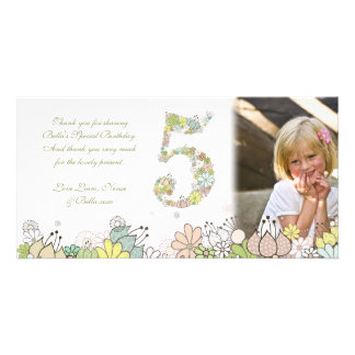 Girls 5th Birthday Neutral Blooms Thank You Photo Card