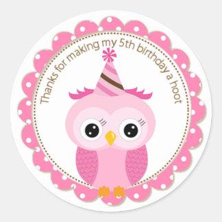 Girls 5th Birthday Pink Owl Thank You Classic Round Sticker