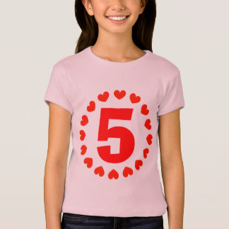 Girls 5th Birthday shirt | number five with hearts