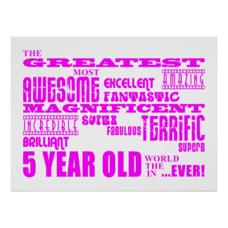Girls 5th Birthdays : Pink Greatest 5 Year Old Poster