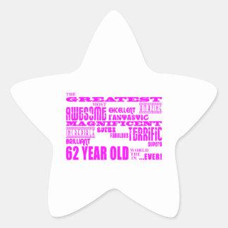 Girls 62nd Birthdays Pink Greatest Sixty Two Star Sticker