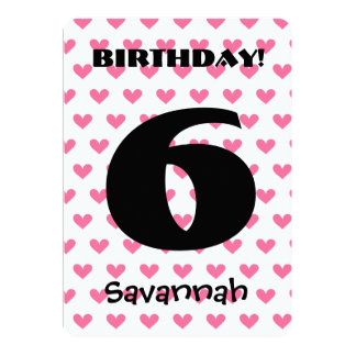 Girl's 6th Birthday Custom Name Modern W06 HEARTS Card