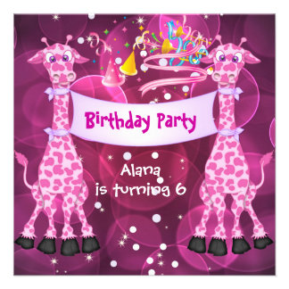 Girls 6th Birthday Party Pink Giraffe Kids Child Personalized Invite