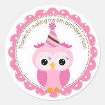 Girls 6th Birthday Pink Owl Thank You Round Sticker