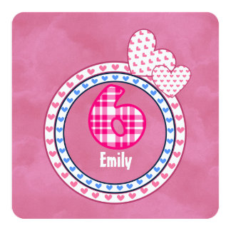 Girl's 6th Birthday Six Year Old Pink Blue 002 Card