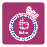 Girl's 6th Birthday Six Year Old Pink Blue 003 5.25x5.25 Square Paper Invitation Card