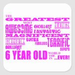 Girls 6th Birthdays : Pink Greatest 6 Year Old Stickers