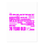 Girls 70th Birthdays Pink : Greatest Seventy Postcard
