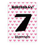Girl's 7th Birthday Custom Name Modern W07 HEARTS Announcement
