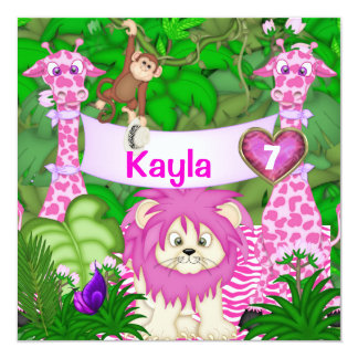 Girls 7TH BIRTHDAY Jungle Invitation with Monkeys