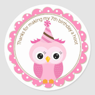 Girls 7th Birthday Pink Owl Thank You Classic Round Sticker