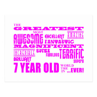 Girls 7th Birthdays : Pink Greatest 7 Year Old Postcard