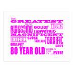 Girls 80th Birthdays Pink : Greatest Eighty Postcard