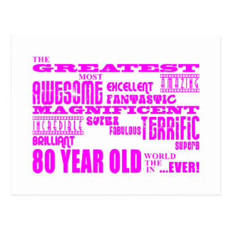 Girls 80th Birthdays Pink : Greatest Eighty Postcard