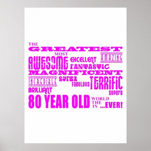 Girls 80th Birthdays Pink : Greatest Eighty Posters