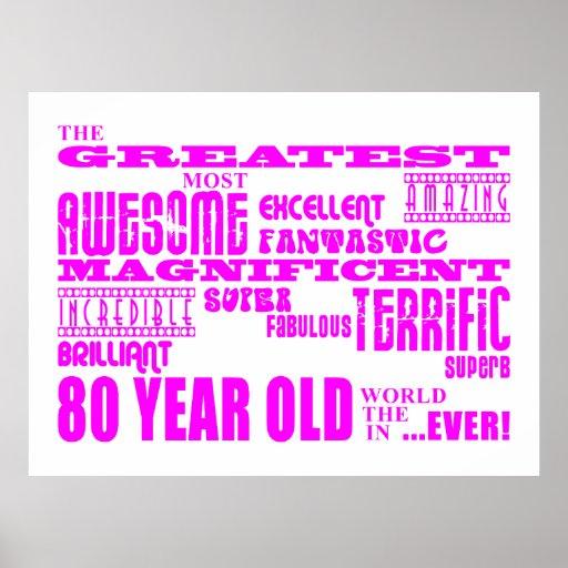 Girls 80th Birthdays Pink : Greatest Eighty Print