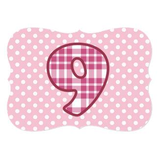 Girl's 8th Birthday Custom Name Plaid and Dots A26 Card
