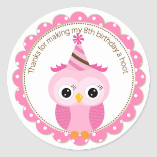 Girls 8th Birthday Pink Owl Thank You Classic Round Sticker