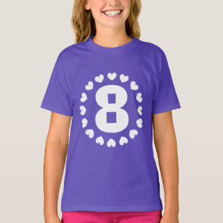 Girls 8th Birthday shirt | Age eight with hearts