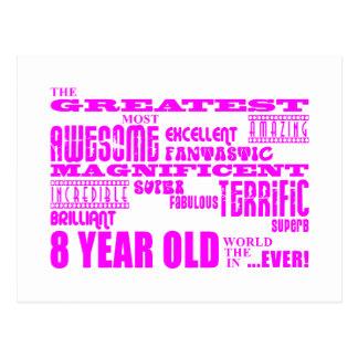 Girls 8th Birthdays : Pink Greatest 8 Year Old Postcard