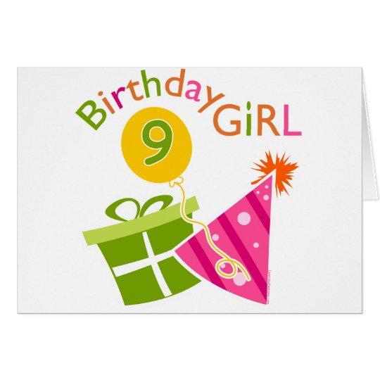 Girls 9th Birthday Card