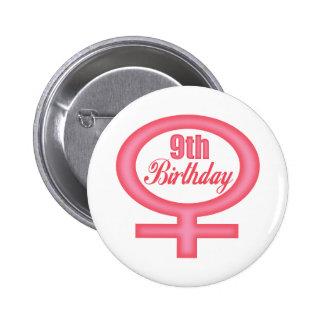 Girls 9th Birthday Gifts Pinback Button