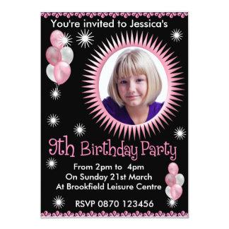 Girls 9th Birthday Photo Invitation