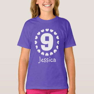 Girls 9th Birthday shirt | Age nine with hearts
