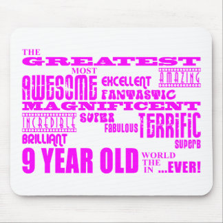 Girls 9th Birthdays : Pink Greatest 9 Year Old Mouse Pad