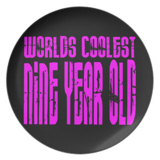 Girls 9th Birthdays Pink Worlds Coolest Nine Year Party Plate