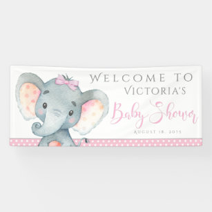 girls adorable elephant baby shower banners