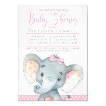 Girls Adorable Elephant Baby Shower Invitations