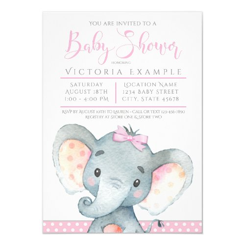 Girls Adorable Elephant Baby Shower Invitations