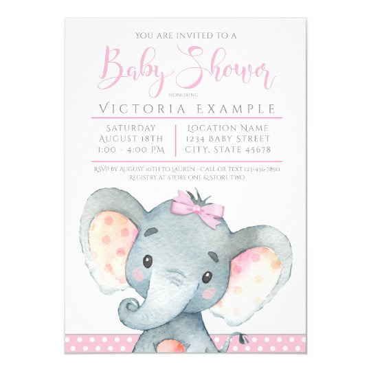 Girls Adorable Elephant Baby Shower Invitations Zazzle Com