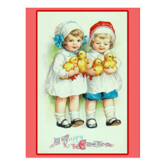 Girls and Baby Chicks Vintage Easter Cards Post Card