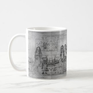 Girls and Cats Subway Sketch Coffee/Tea Mug