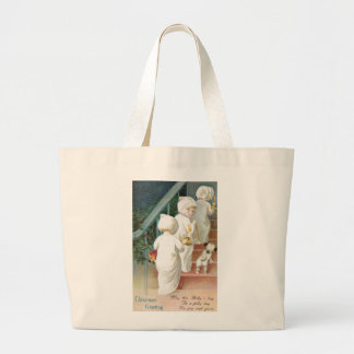 Girls and Dog Climb Stairs Xmas Eve Canvas Bag