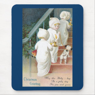 Girls and Dog Climb Stairs Xmas Eve Mouse Pad